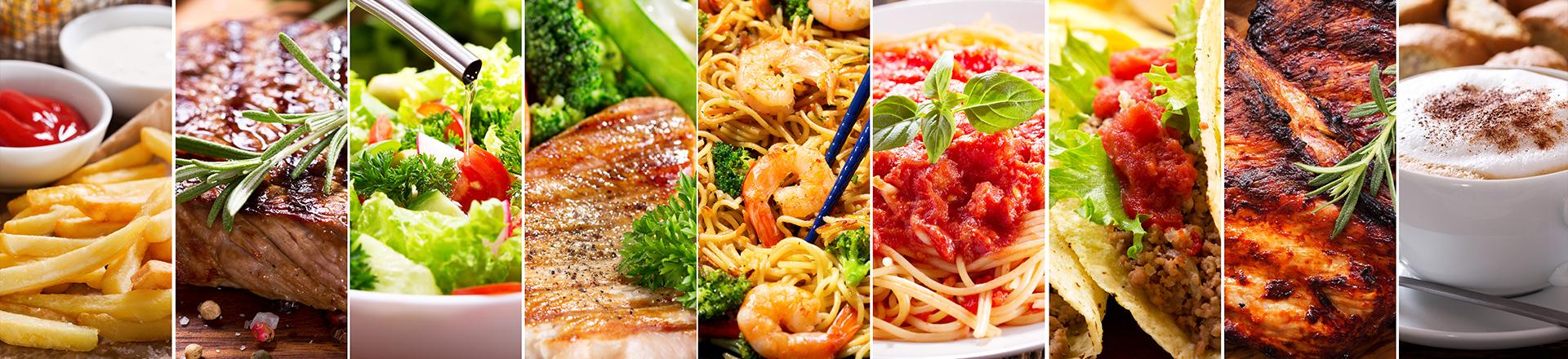 Imagem com diversos pratos